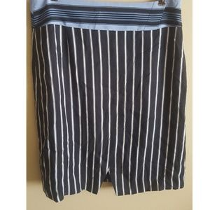 Ann Taylor Loft Navy Blue with White Stripes